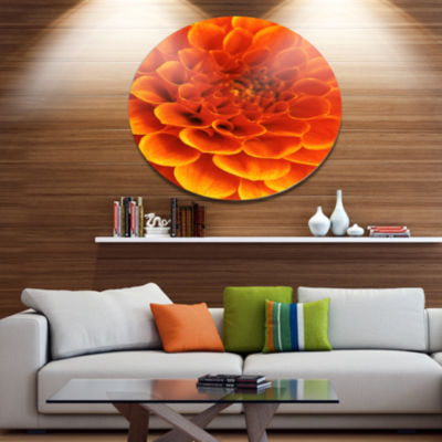 Design Art Orange Abstract Flower and Petals DiscFloral Circle Metal Wall Decor