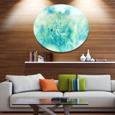 Design Art Light Blue Mountain Plain Flowers Floral Oversized Circle Metal Artwork