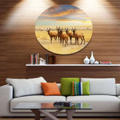 Design Art Herd of Antelope in Grassland Disc Extra Large African Circle Metal Wall Decor