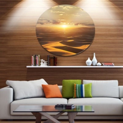 Design Art Evening Sahara Desert with Sunlight Oversized Landscape Metal Circle Wall Art