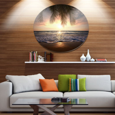 Design Art Tropical Beach with Palm Leaves Seashore Oversized Circle Metal Artwork