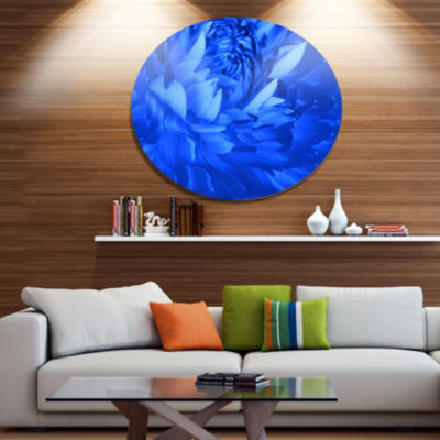 Design Art Bright Blue Flower Petals Disc Floral Circle Metal Wall Decor