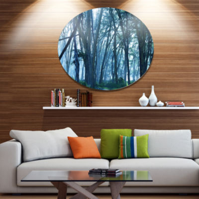 Design Art Dense Rain Forest on Foggy Day Oversized Landscape Metal Circle Wall Art