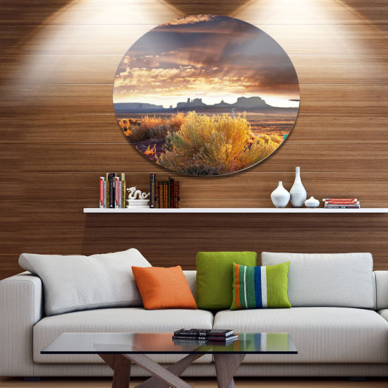 Design Art Monument Valley under Cloudy Sky Oversized African Landscape Metal Circle Wall Art