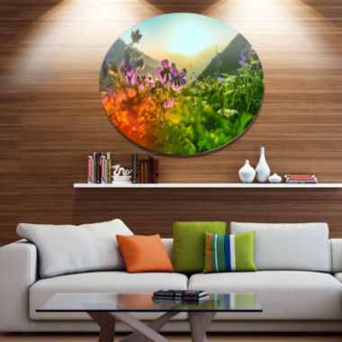 Design Art Multicolor Mountains Meadow View Disc Floral Circle Metal Wall Decor