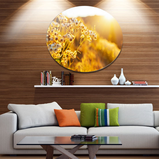 Design Art Bright Yellow Rural Garden Flowers Floral Oversized Circle Metal Artwork