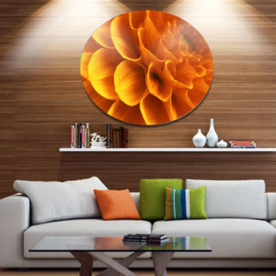 Design Art Yellow Abstract Floral Design Disc Floral Circle Metal Wall Decor