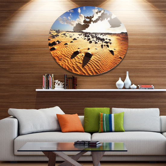 Design Art Beautiful Rocky Sand Desert Disc African Landscape Circle Metal Wall Decor