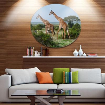 Design Art Two Giraffes in African Savannah African Metal Circle Wall Art