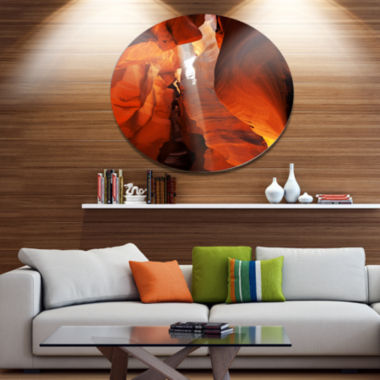 Design Art Antelope Canyon in Sunlight Rays Oversized African Landscape Metal Circle Wall Art