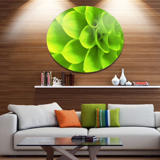 Design Art Bright Green Flower Petals Disc FloralCircle Metal Wall Decor