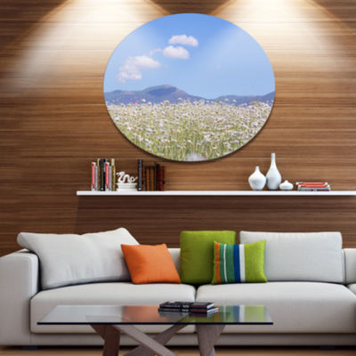 Design Art Chamomiles with Hills on Background Large Flower Oversized Circle Metal Artwork