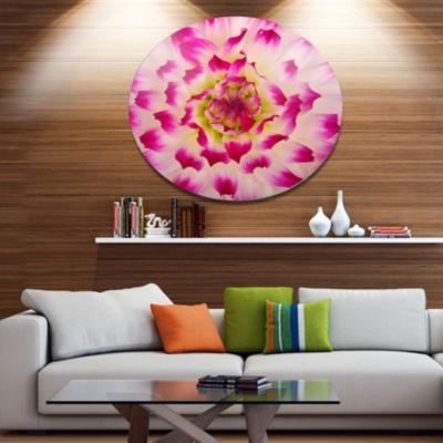Design Art Smooth White Rose Flower Petals Disc Floral Circle Metal Wall Decor