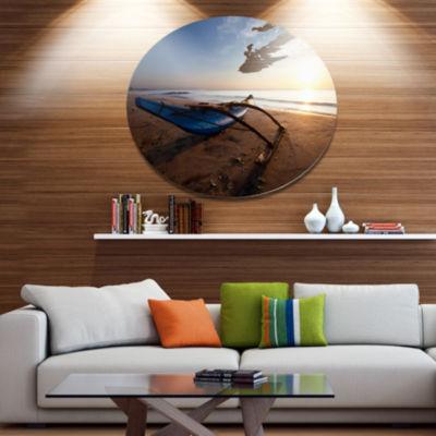 Design Art Fishing Boat in Sri Lanka Beach Large Seashore Metal Circle Wall Art