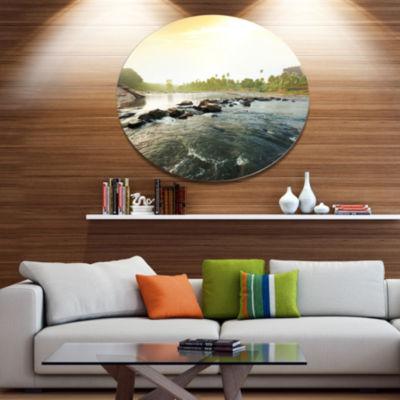 Design Art Beautiful Tropical River with Clean Water Large Seashore Oversized Circle Metal Artwork
