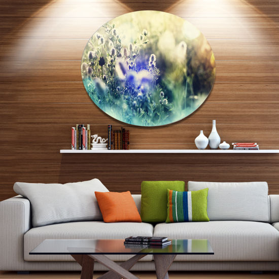 Design Art Blue Mountain Meadow Flowers Floral Oversized Circle Metal Artwork