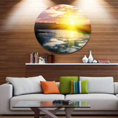 Design Art Bright Yellow Sunrise over Lake Large Seashore Metal Circle Wall Art