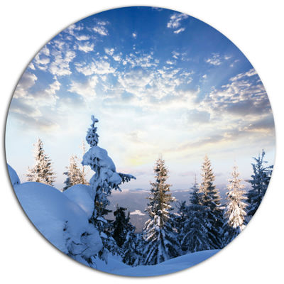 Design Art Foggy White Winter Forest Landscape Wall Art on Metal Wall
