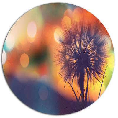 Design Art Dandelion Flower on Orange Background Floral Oversized Circle Metal Artwork