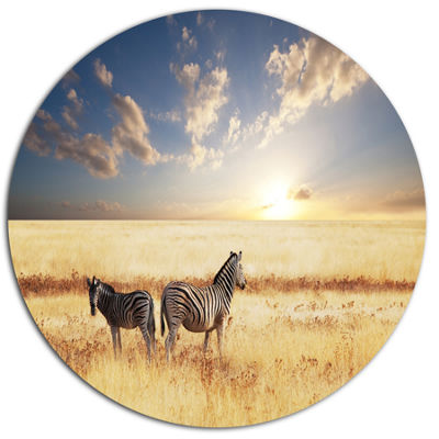 Design Art Zebras in Beautiful Grassland At SunsetExtra Large African Metal Circle Wall Art