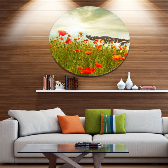 Design Art Red Poppy Flowers in Green Field Disc Floral Circle Metal Wall Decor