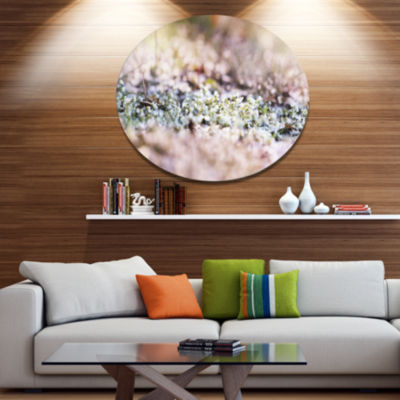 Design Art Little White and Pink Flowers Large Flower Oversized Circle Metal Artwork