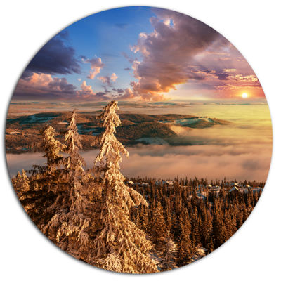 Design Art Beautiful Jungle with Fog At Sunset Oversized Landscape Metal Circle Wall Art