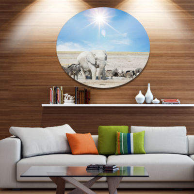 Design Art White Elephant and Herd of Zebras Abstract Metal Circle Wall Art