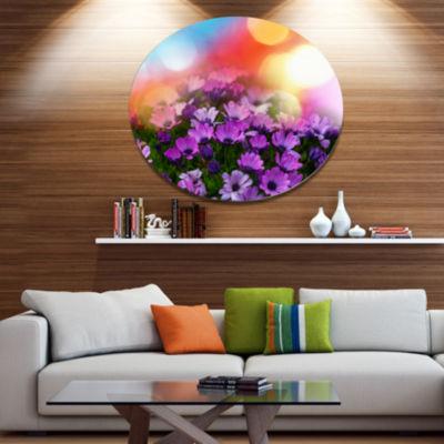 Design Art Beautiful Little Purple Flowers Disc Floral Circle Metal Wall Decor