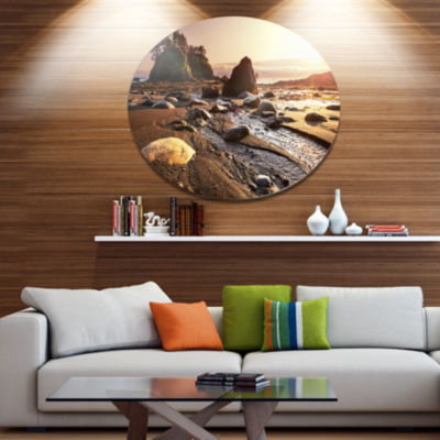 Design Art Olympic National Park Coast Large Seashore Metal Circle Wall Art