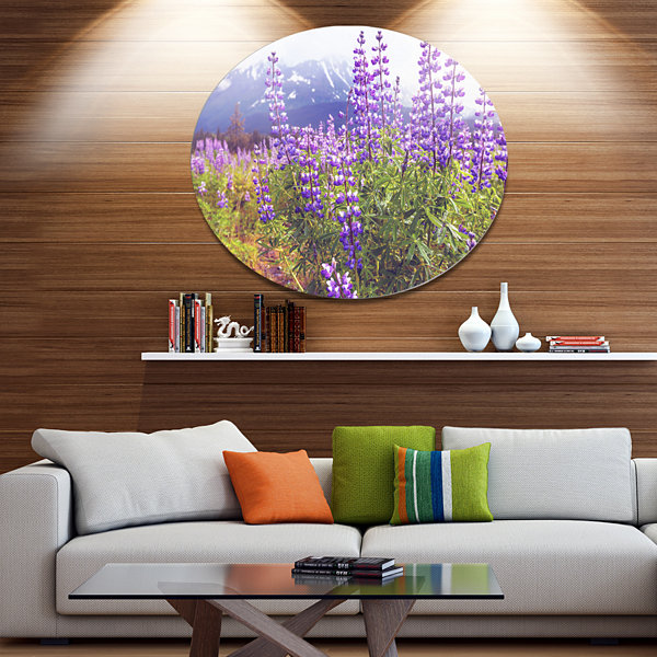 Design Art Meadow in Alaska with Purple Flowers Floral Oversized Circle Metal Artwork