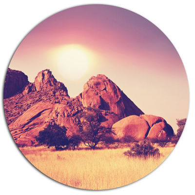 Design Art Rocky Hills and Grassland in Africa Oversized Landscape Metal Circle Wall Art