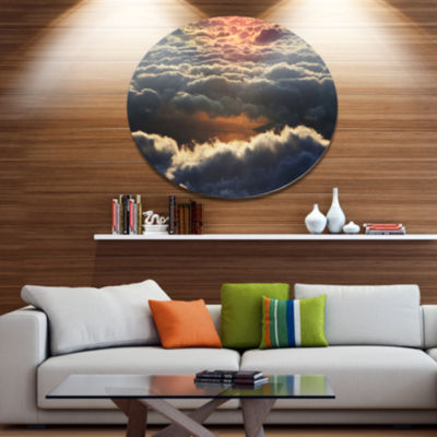 Design Art Heavy Dark Clouds At Sunset Disc FloralCircle Metal Wall Decor