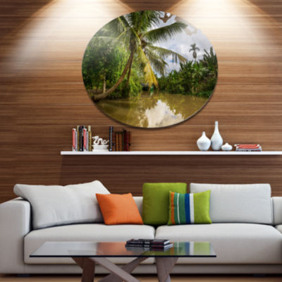 Design Art Tropical River with Bent Coconut Palm Disc Oversized Landscape Circle Metal Wall Decor