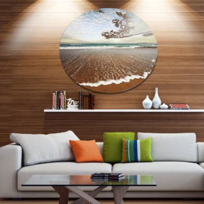 Design Art Fantastic Waves and Clouds in Beach Large Seashore Metal Circle Wall Art
