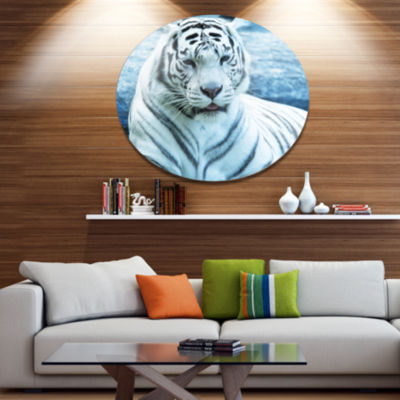Design Art Silver Tiger with Water Background African Metal Circle Wall Art