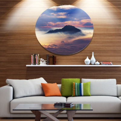 Design Art Amazing Java Mountain in Fog OversizedLandscape Metal Circle Wall Art