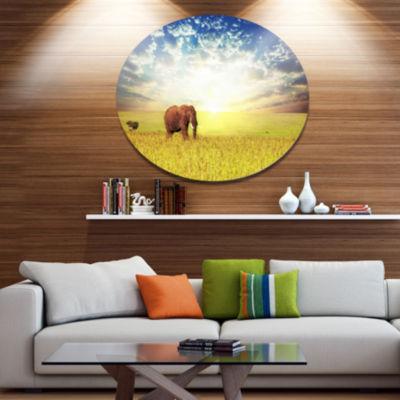 Design Art Savannah Elephant in Grassland Extra Large African Metal Circle Wall Art