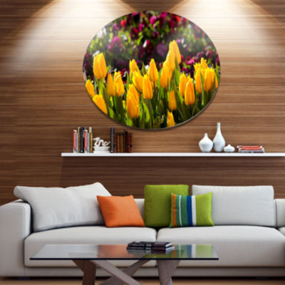 Design Art Beautiful Yellow Tulips Garden Large Flower Oversized Circle Metal Artwork