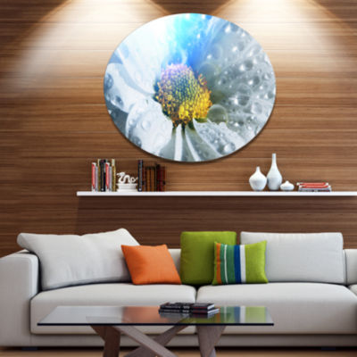 Design Art Large White Flower with Raindrops DiscFloral Circle Metal Wall Decor