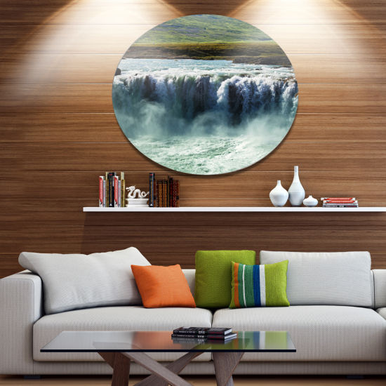 Design Art Amazing Waterfalls in Iceland OversizedLandscape Metal Circle Wall Art