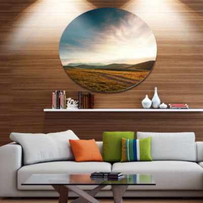 Design Art Pathway over Mountains At Sunset Oversized Landscape Metal Circle Wall Art