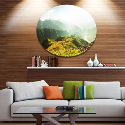 Design Art Caucasus Mountains Panorama Landscape Oversized Circle Metal Artwork