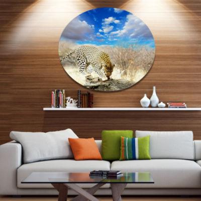 Design Art Leopard Feeding on Tree Trunk Extra Large African Metal Circle Wall Art