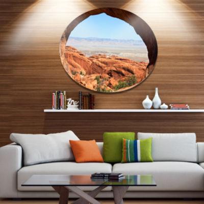 Design Art Huge Arch into Rocky Terrains Disc Landscape Circle Metal Wall Decor