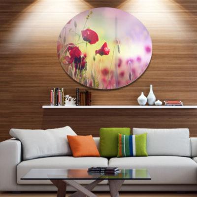 Design Art Beautiful Poppy Flower Garden Disc Floral Circle Metal Wall Decor