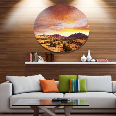 Design Art Land with Thick Clouds At Sunset African Landscape Metal Circle Wall Art
