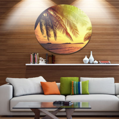 Design Art Tropical Beach with Green Palm Large Seashore Metal Circle Wall Art
