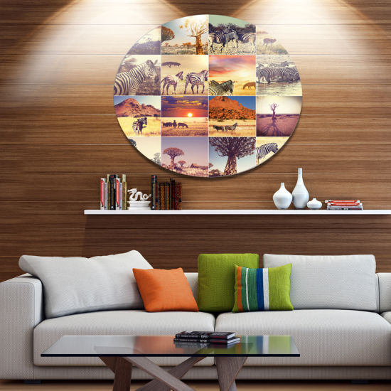 Design Art African Wildlife and Nature Collage Disc African Landscape Circle Metal Wall Decor