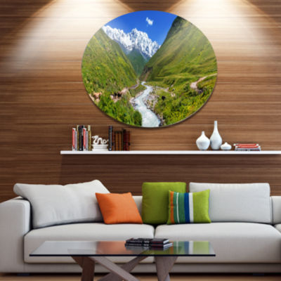 Design Art River in Caucasus Mountains Landscape Oversized Circle Metal Artwork